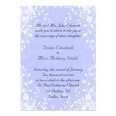 Periwinkle Blue and White Botanical Wedding Invitation | Lavender Blue, Blue Iris, Blue Purple