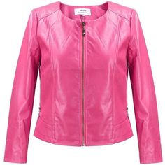 MSSHE Women's Faux PU Leather Jacket Plus Size Casual Biker Jacket ❤ liked on Polyvore featuring outerwear, jackets, faux-leather jacket, plus size motorcycle jacket, faux-leather moto jackets, plus size pink jacket and plus size womens motorcycle jacket