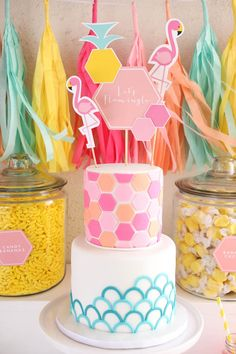 flamingo summer party and cake with printable cake toppers