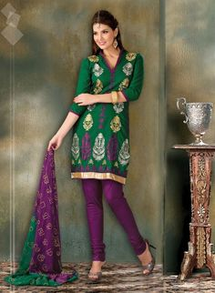 Dark Green Cotton Salwar Kameez