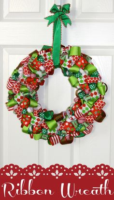 DIY Ribbon Wreath. SO EASY and a perfect way to use the millions of grosgrain scraps I have after bow-making for my girls!