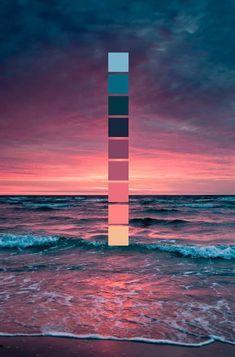 Sonnenuntergang am Meer // Farbschema // Meer, Wellen, rosa Sonnenuntergang Sunset at the sea // color scheme // sea, waves, pink sunset Colour Pallette, Colour Schemes, Color Combos, Sunset Color Palette, Maroon Color Palette, Nature Color Palette, Lavender Color Scheme, Beach Color Schemes, Summer Color Palettes