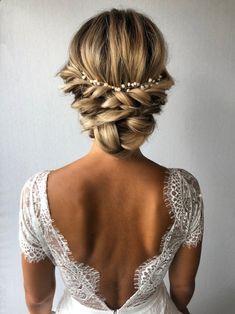 Bridal Hairstyles With Braids, Bridal Braids, Wedding Braids, Bridal Hair Updo, Wedding Hair Clips, Wedding Hair And Makeup, Bride Hairstyles, Headband Hairstyles, Bridal Headpieces