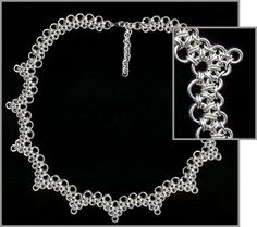 Love the ripple effect of this chainmaille necklace!  (i agree- looks like handmade lace)