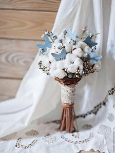 Купить Букет невесты / Зимний свадебный букет из сухоцветов - голубой, белый, букет невесты
