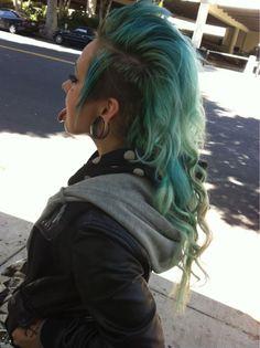 blue-green mohawk hair