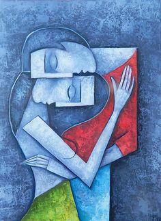 Cubist Art, Abstract Art, Love Painting, Woman Painting, Book Cover Art, Picasso, Indian Art, Cartoon Art, Lovers Art
