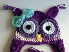 Crochet Owl Hat in purple with bow hairclip!!
