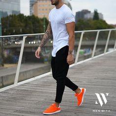 Men\'s fashion  Orange shoes  Joggers  Gym outfit