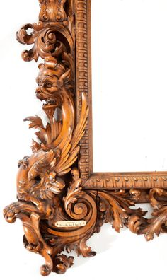 DETAIL: WALNUT CARVED MIRROR .American-- unattributed, circa1855. 107-1/2 x 66 inches (273.1 x 167.6 cm). ...Typically Victorian, mixed Jacobean & Italianate styles,machined & hand-carved finishing.