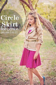 Free Circle Skirt pattern, size 3 to 10.