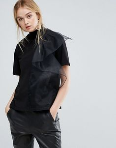 d8394211f81635 Discover Fashion Online Sheer Shirt, Frilly Shirt, Ruffle Shirt, Ruffle Top,  Ruffles