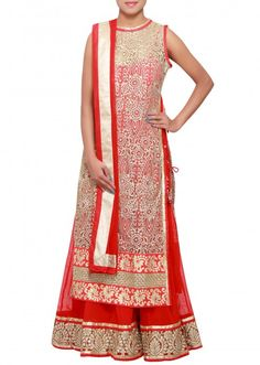 Red and beige anarkali suit adorn in zari embroidery only on Kalki India Fashion, Asian Fashion, Girl Fashion, Ladies Fashion, Indian Bridal Wear, Indian Wear, Indian Dresses, Indian Outfits, Indian Anarkali