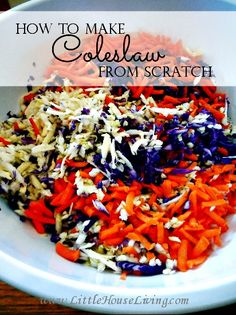 How to make a delicious and simple coleslaw from scratch! This recipe is so good and so easy. It's the perfect summer side dish!