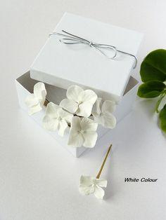 White Hydrangea Hair Pins set of 6 Ivory Wedding by FloverCoUk