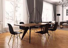 Renovation d'un appartement haussmanien à Neuilly sur seine  dans Appartement haussmanien à Neuilly sur Se . Idée décoration de salles à manger Design et Contemporaines sur Domozoom.