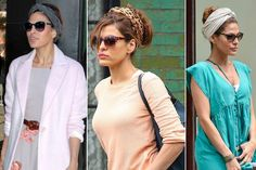 Eva Mendes:  The turban scarf + updo hairstyle + sunglasses combination.
