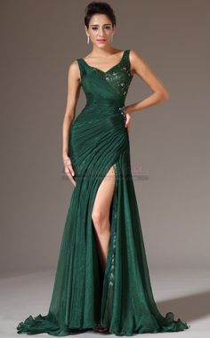 Dark Hunter Green Long Mermaid Chiffon and Lace Straps Bridesmaid Dress JT-CA1336