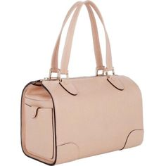 Pre-owned Valextra Boston Powder Pink Satchel (1.002.005 CRC) ❤ liked on Polyvore featuring bags, handbags, powder pink, genuine leather purse, pink leather purse, preowned handbags, leather purse and pink satchel