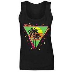 80s Graphic Palms and Sunset Tank Top for women
