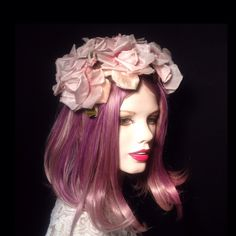 Vintage 1950s Nude Pink Silk And Velvet Crown Of Roses Headband Flower Fascinator Hat,Bride,Bridal,Wedding,Retro,Pinup Fashion by VintageDoylestown on Etsy