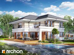 Willa Weronika 3 (P) House Plans Mansion, New House Plans, Modern House Plans, Small House Plans, Big Beautiful Houses, Big Modern Houses, Modern Mansion, 2 Storey House Design, Bungalow House Design