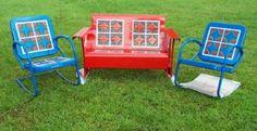 Old Vintage Metal Porch Gliders Vintage Metal Glider, Vintage Metal Chairs, Vintage Outdoor Furniture, Metal Lawn Chairs, Vintage Porch, Lawn Furniture, Retro Furniture, Steel Furniture, Furniture Redo