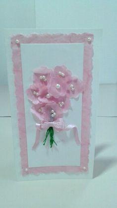 Biglietto compleanno fiori realizzati con carta di riso