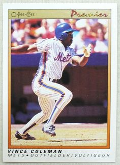 1991 O-Pee-Chee Premier Baseball 25 Vince Coleman New York Mets (UER) #NewYorkMets The Outfield, New York Mets, Baseball Cards, Store, Ebay, Storage, Shop