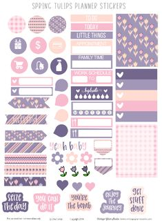 Spring Tulips Planner Stickers Printable - Spring themed planner stickers printable for the Erin Condren and other similar weekly planners. Free for personal non-commercial use only. Sticker Printable, Printable Planner Stickers, Calendar Printable, Planner Template, Free Planner, Happy Planner, 2015 Planner, Blog Planner, Journal Stickers