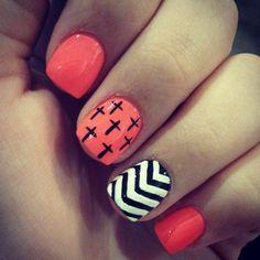 Black nails, white crosses, neon pink and white or black chevron print.