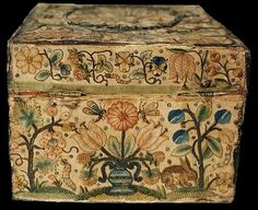 Note to self: Hooked rug inspiration. (Embroidered Casket, 1650 - 1680, back side view.)