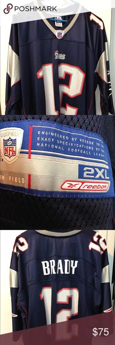 Tom Brady NFL licensed Game Day Jersey Tom Brady NFL licensed Game Day Jersey Size 2XL Navy / Red / Silver / White 100% Nylon Machine Wash Tumble Dry Promptly take from Dryer to prevent wrinkles and damage to letters or numbers.  My husband wore once but did not like the feel  around his neck.  This is Mint Condition and Authentic. NFL by Reebok Shirts