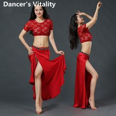 da8e85cdd Lace Sexy Belly Dance Suits Set For Women Short Sleeve Crop Top + Long  Placketing Skirt Gypsy Costumes Belly Dancing Wear
