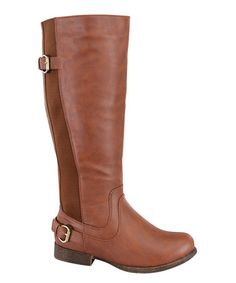 Another great find on #zulily! Tan Step Stretch-Back Boot #zulilyfinds