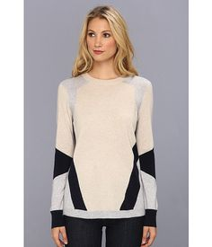 Rebecca Taylor L/S Colorblocked Intarsia Sweater Oatmeal Combo - Zappos.com Free Shipping BOTH Ways
