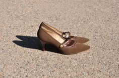 60s olive green heels / vegan leather mary janes / by QuietUnrest