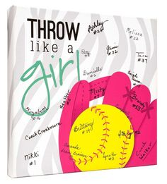Super cute gift idea for girls! Have the whole team sign as a keepsake. Great for coaches, team mom& and end of the season parties! Softball Birthday Parties, Softball Party, Softball Crafts, Softball Coach, Girls Softball, Fastpitch Softball, Softball Players, Softball Stuff, Softball Things