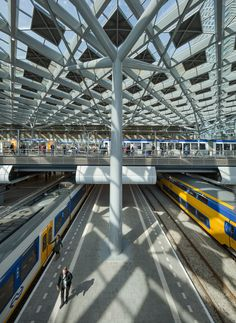 Dutch firm Benthem Crouwel Architects has rebuilt the central railway station in The Hague with a huge diamond-patterned glass roof
