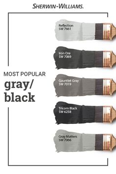 Have you ever wondered which Sherwin-Williams gray and black paint colors are the very best sellers? These beautiful hues all make the list. Tap this pin to find the right color for your next DIY painting project. House Paint Exterior, Exterior Paint Colors, Exterior House Colors, Paint Colors For Home, Bathroom Paint Colours, Gray Paint Colors, Modern Paint Colors, Black Colors, Neutral Paint