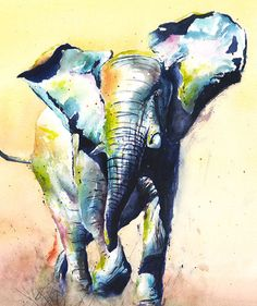 ELEPHANT PAINTING watercolor elephant art elephant by SignedSweet