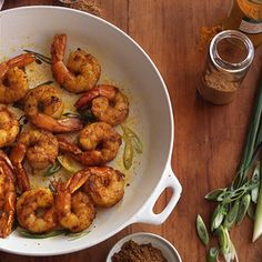 Spiced Shrimp | http://www.rachaelraymag.com/Recipes/rachael-ray-magazine-recipe-search/on-hand-ingredients-recipes/spiced-shrimp
