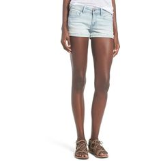 Junior SP Black Cutoff Distressed Denim Shorts ($25) ❤ liked on Polyvore featuring shorts, light wash, cut-off shorts, distressed denim shorts, cuffed shorts, distressed cut off denim shorts and cut off shorts