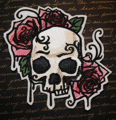 Hey, I found this really awesome Etsy listing at https://www.etsy.com/listing/200528974/gothic-skull-and-pink-roses-iron-on