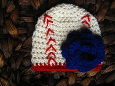 Baseball beanie. Can be made without the flower! Crochet, hat, hats, newborn, boy, girl, photo prop, cold, winter, sports, football, twins, Texas, rangers, Yankees, reds, brewers, cubs, mets, white sox, Red Sox, giants, dodgers, padres, Indians, braves, rays, marlins, mariners, athletics, a's, Astros, angels, bluejays, royals, New York, diamondbacks, Rockies, cardinals, tigers, mlb, softball.