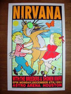 Frank Kozik Kozik 1993 KZ93-47 NIRVANA, The Breeders Silkscreen Concert Poster Signed Mint-