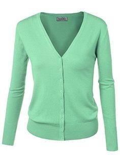 f42648fa23 BIADANI Women Button Down Long Sleeve Basic Soft Knit Cardigan Sweater   Casual