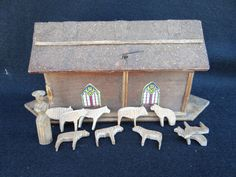 1900's Noah's Ark, Noah and 10 Hand Carved Animals, Hand Made Folk Art by exploremag on Etsy https://www.etsy.com/listing/126938329/1900s-noahs-ark-noah-and-10-hand-carved