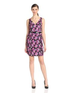 Plenty by Tracy Reese Women's Thea Double V-Neck Dress, Tossed Rose, 12
