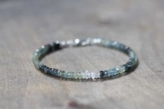 Moss Aquamarine Bracelet with Herkimer Diamonds, Delicate Quartz Crystal Jewelry, Beaded Shaded Moss Aquamarine Jewelry, Sterling Silver